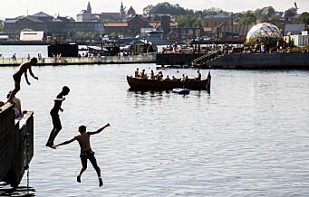Sydentemperaturer i fjorden: 23,5 grader i vannet ved Bispevika og til uka blir det enda varmere i Oslo