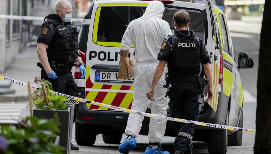 Det var i Tordenskiolds gate i Oslo sentrum at den siktede skjøt kameraten sin mandag ettermiddag. Mannen ble bekreftet omkommet mandag kveld. Foto: Fredrik Hagen / NTB