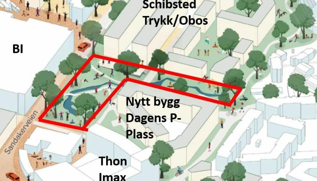 Dette er en illustrasjon av det kommunen og utbyggerne har blitt enige om, ifølge aksjonsgruppa Ja til stor park i Nydalen.