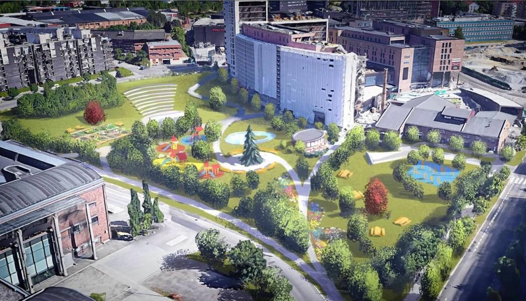 Denne skissen er laget av Endre Skandfer for Aksjonsgruppa Ja til stor park i Nydalen. Den viser gruppas forslag til park i Sandakerveien 113-119 Illustrasjon: Endre Skandfer