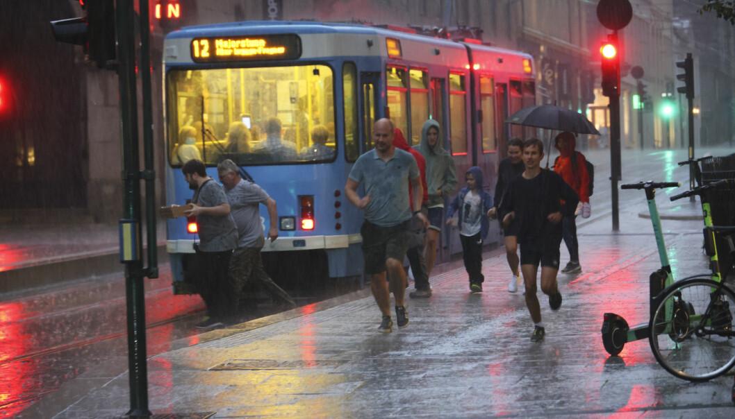 Tirsdag kveld kom det en del nedbør i Oslo sentrum.