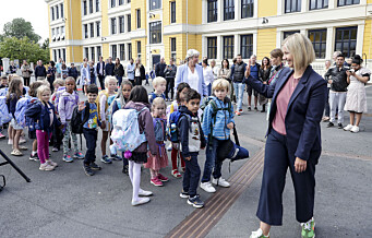 Kunnskapsminister Melby møtte førsteklassinger ved Uranienborg skole til skolestart