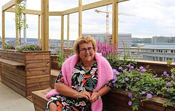 Matminister Olaug Bollestad (KrF) har fått grønt kontortak med spiselige planter i Teatergata
