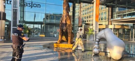 Kvinne pågrepet og mistenkt for å ha satt fyr på hundeskulptur av mose utenfor Oslo S