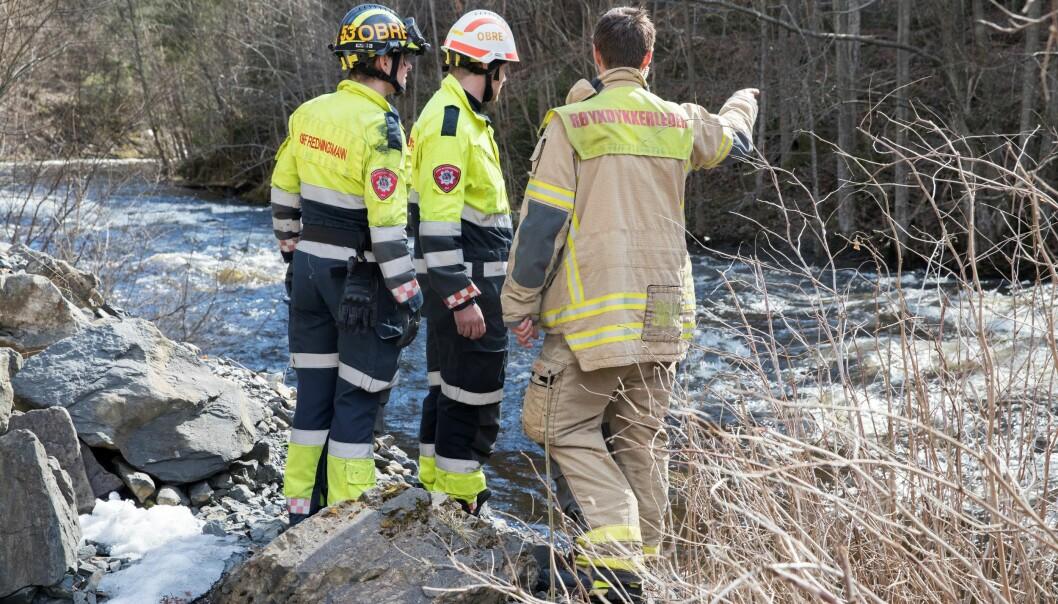 Søk etter savnet person i 2018, som senere ble funnet omkommet i Lysakerelva.