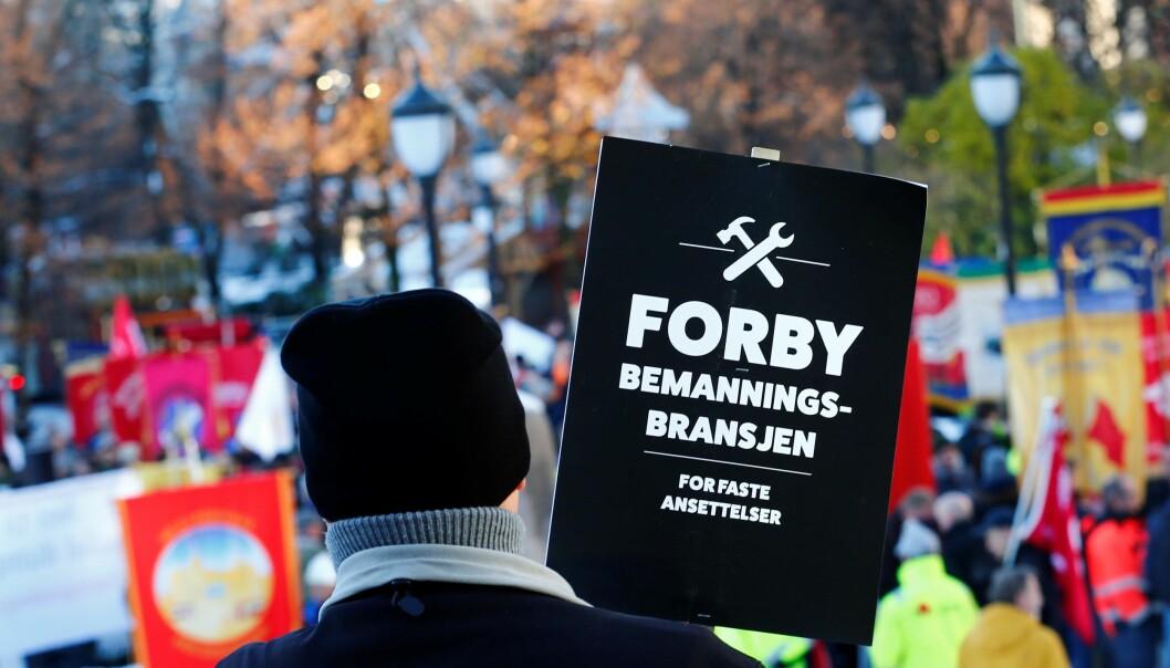 LO i Oslo har lenge slåss mot bemanningsbransjen. Her fra en demonstrasjon i 2017.