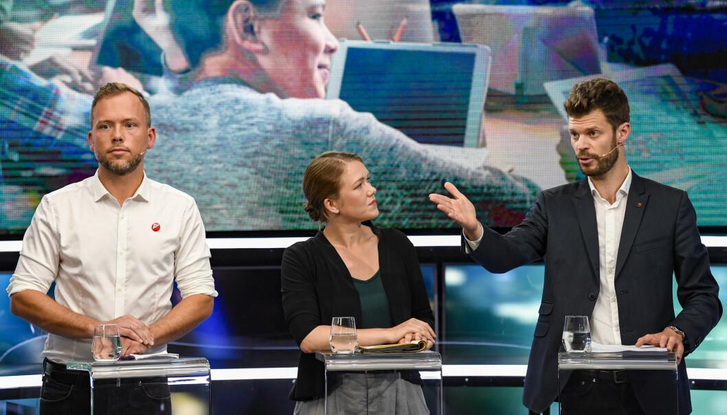 Audun Lysbakken (SV), Une Bastholm (MDG) og Bjørnar Moxnes (Rødt) har grunn til å være tilfreds med den siste Oslo-målingen.