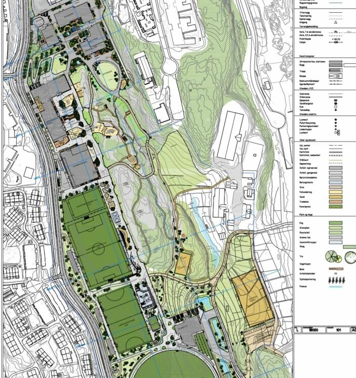 Denne oversikt over Mortensrud-prosjektet viser at det er planlagt kun en 11-er og en 7-er ved det nye idrettsanlegget. 3-eren er ikke planlagt erstattet.