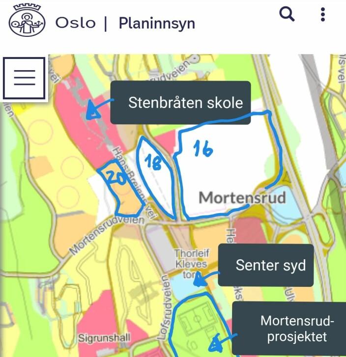 Oversikt over hvor Stenbråten skole ligger i forhold til felt 20, de øvrige byggefeltene, senter syd og Mortensrud-prosjektet.