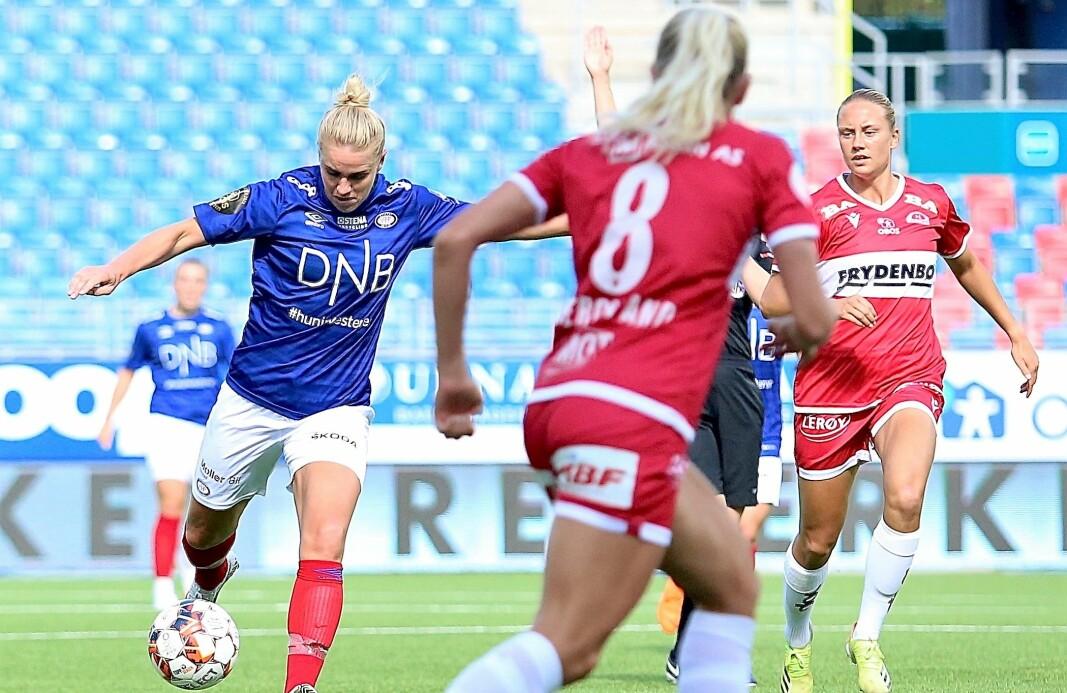 Elise Thorsnes misbrukte Vålerengas største sjanse i lørdagens kamp. Skuddet ble ikke godt nok.-