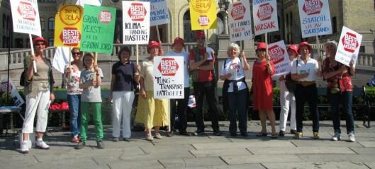 Besteforeldrenes klimaaksjon tar med seg «barnebarna» på klimastunt foran Stortinget