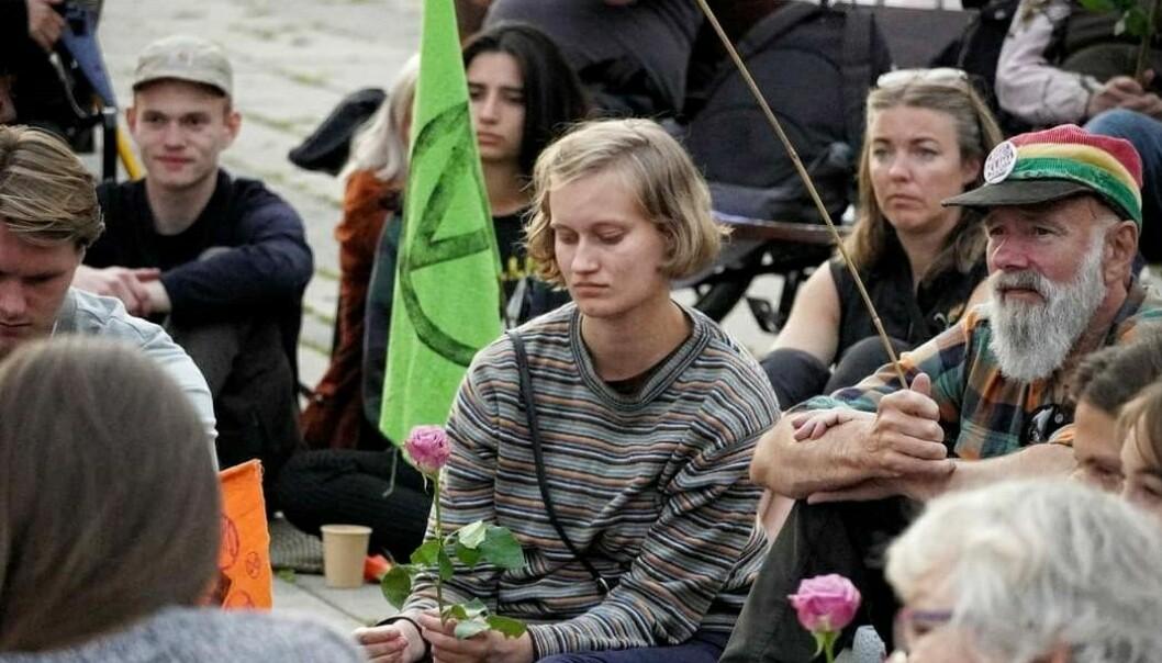Fra XR sin avslutningsseremoni. Ved fontenen på Rådhusplassen