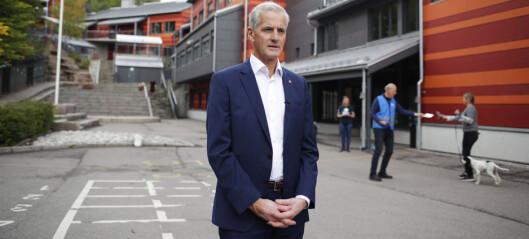 Støre stemte på Svendstuen skole på Slemdal i bydel Vestre Aker: — Jeg har en god følelse
