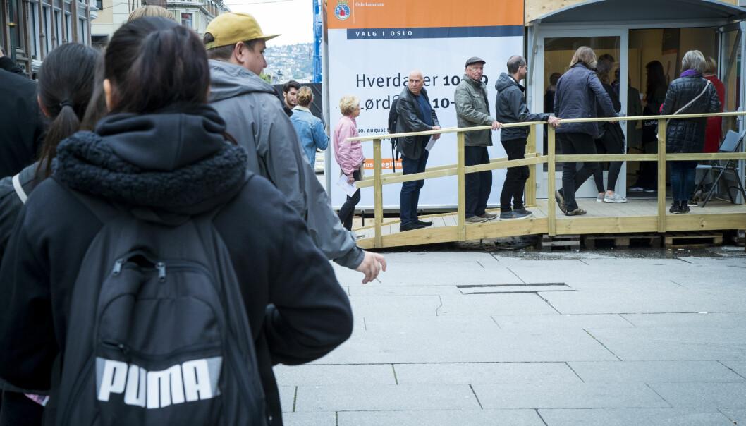 Rekordmange har forhåndsstemt i Oslo, her fra Egertorget.