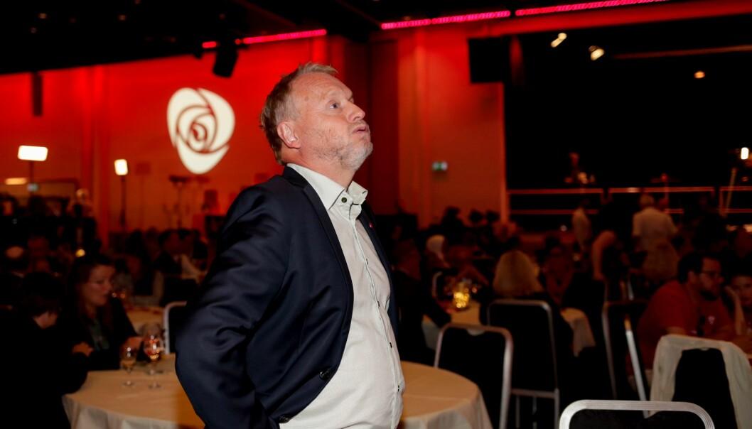 Oslos byrådsleder Raymond Johansen på Arbeiderpartiets valgvake. Prognosen da valglokalene stengte er at Ap går tilbake 6,6 prosentpoeng i Oslo.