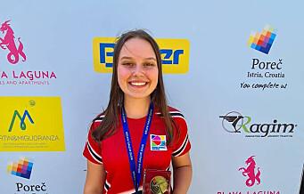 Ylva Hjelle (19) fra Sportsklubben Vidar tok EM-bronse i bueskyting