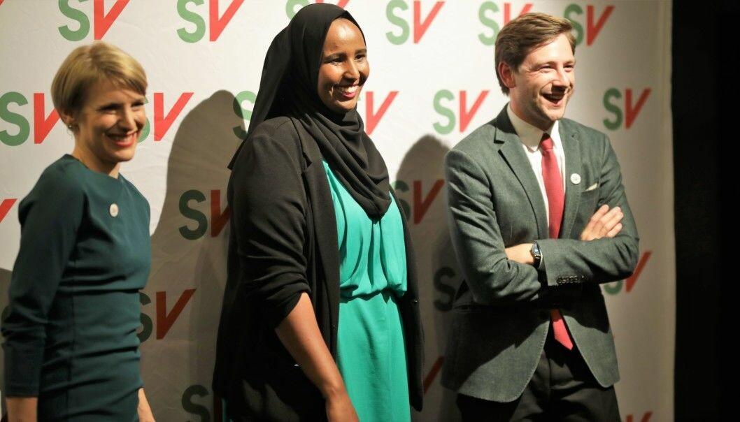 SVs kommende stortingsrepresentanter Kari Elisabeth Kaski, Marian Hussein og Andreas Sjalg Unneland.