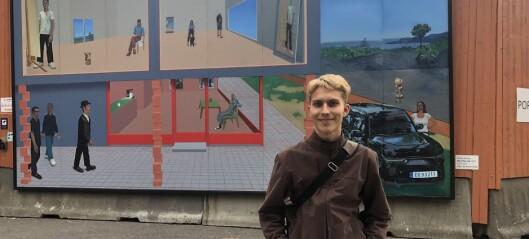Nytt kunstverk hengt opp rundt regjeringskvartalet