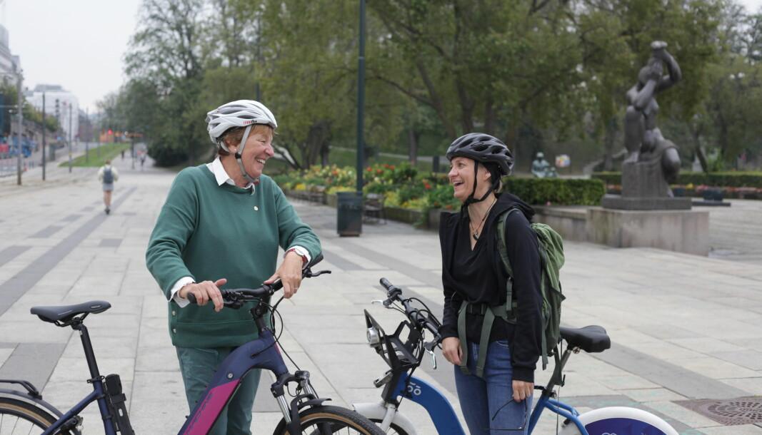 Ordfører Marianne Borgen (SV) møtte Stina Nordine, som tok en liten pause i Oslo på veien mellom Nordkapp og Lindesnes.