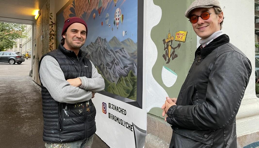 Kunstnerne Jonathan Chedeville og Rasmus Lyche Iversen står bak gatekunstverket i Ullevålsveien 37b.