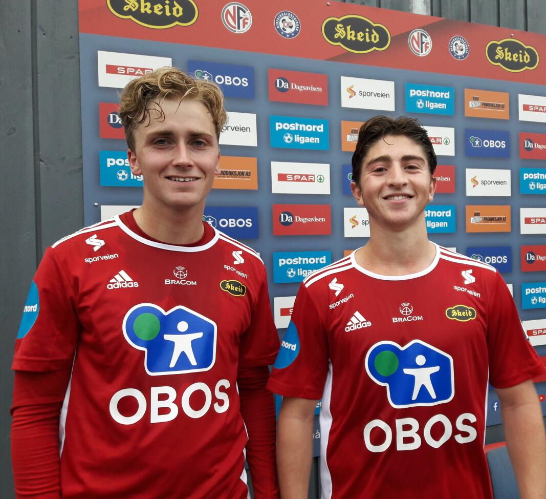 Ulrich Østigård Ness (til v.) og Marcus Melchior bidro begge til at Sotra måtte reise hjem med null mål. og null poeng
