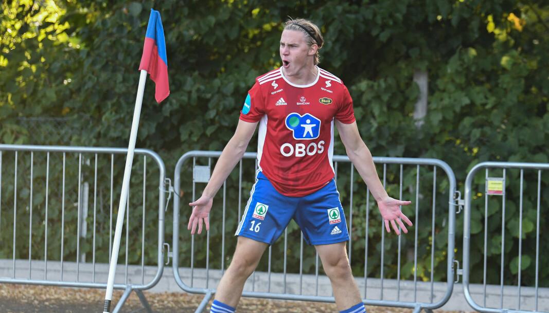 Abel William Stensrud dunker inn mål etter mål for Skeid. Nå er han oppe i åtte seriemål denne sesongen