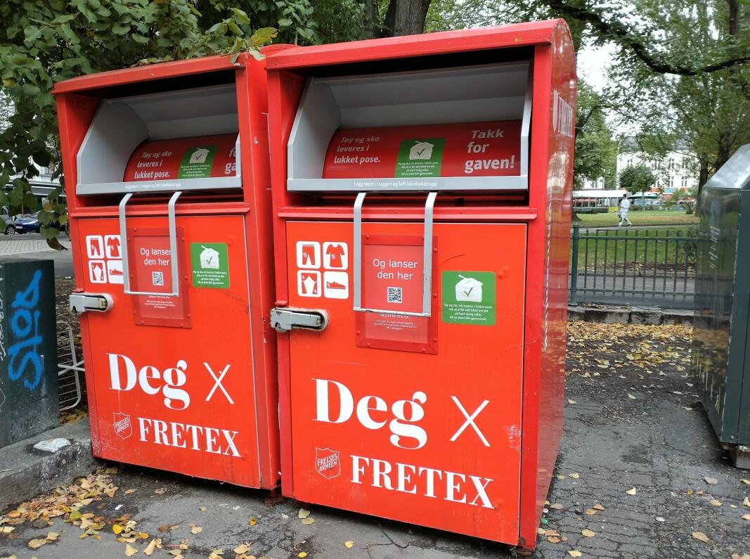 Den velkjente innsamlingsboksen til Fretex.
