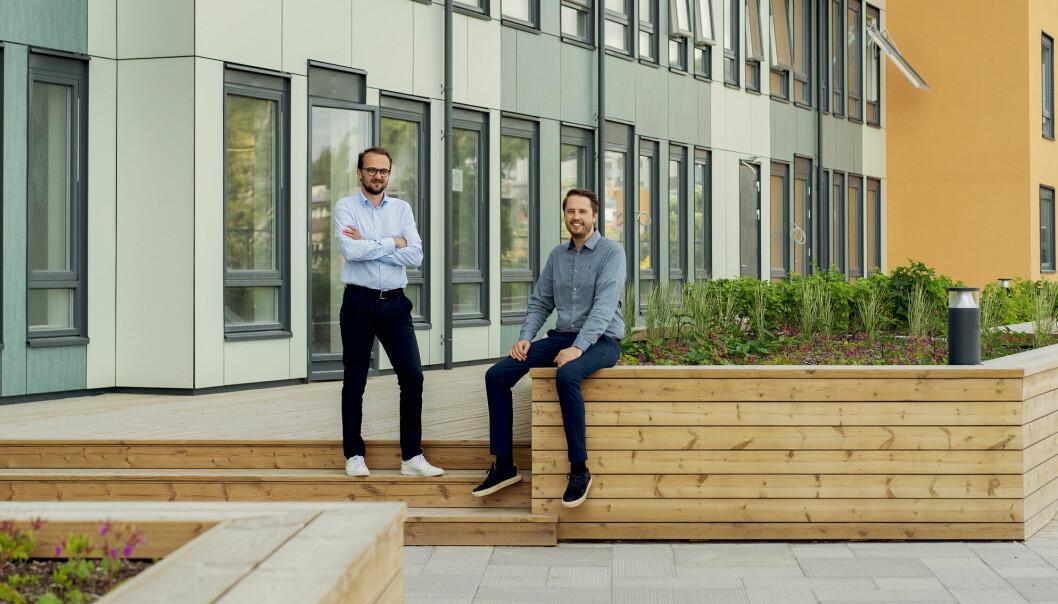 Prosjektleder Ørjan Hurv (t.v.) og daglig leder Ingemund Skålnes i OBOS Living Lab på Vollebekk.