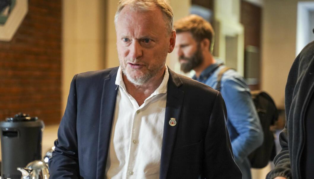 Byrådsleder Raymond Johansen udner pressekonferansen hvor byrådet i Oslo la frem sitt forslag til budsjett for 2022.