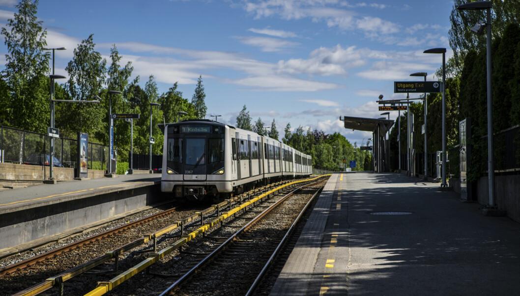 Her på Borgen T-banestasjon ved 23-tiden lørdag ble to 16-åringer ranet. Ni personer er mistenkt.