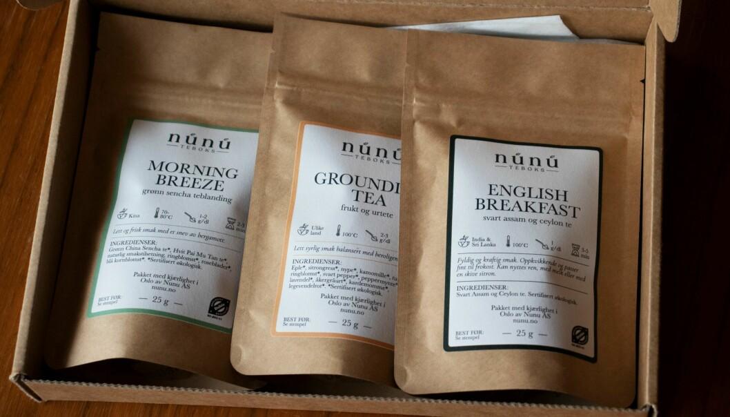 Hver måned får kundene tre ulike te-typer fra Núnú. Dette er te-boksen for september.