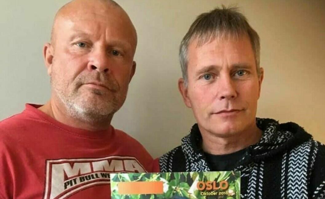 Sverre Eika (til v.) sammen med Arild Knutsen i Foreningen for human narkotikapolitikk (FHN).