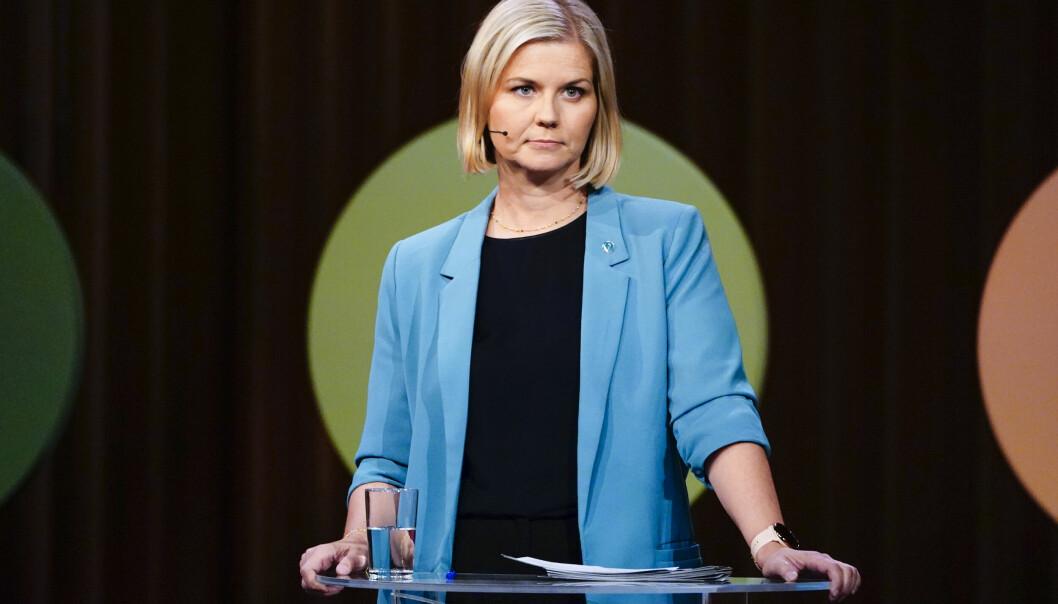 Kunnskapsminister og Venstre-leder Guri Melby i en partilederdebatt på NRK i forkant av valget.