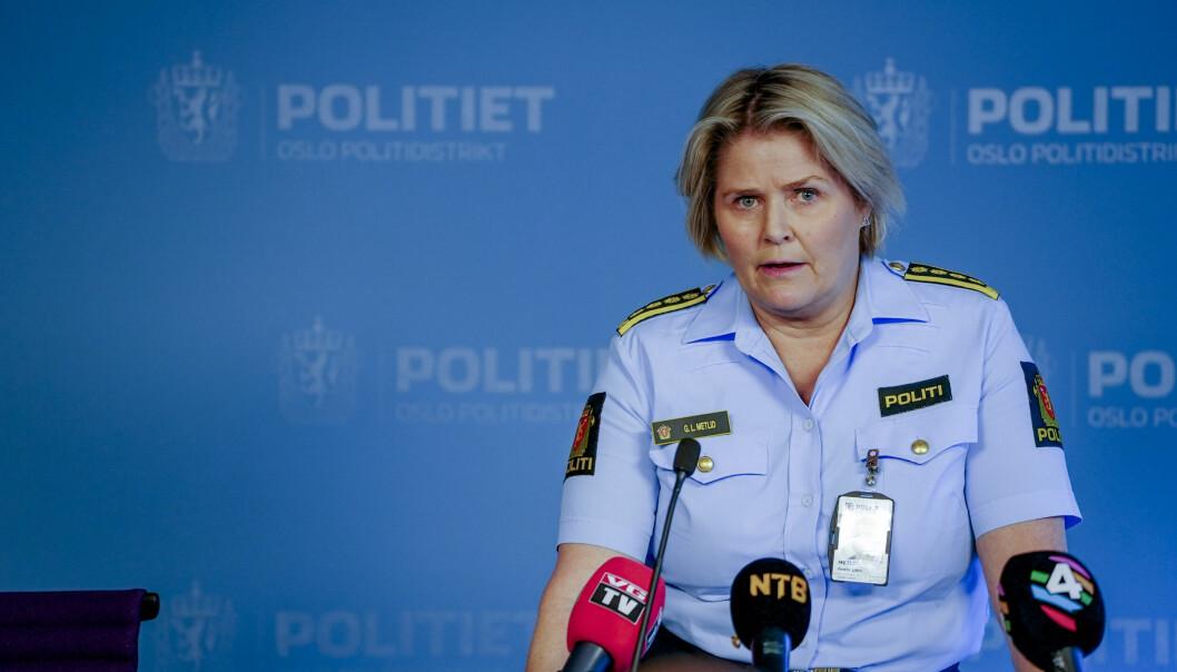 Politiinspektør Grete Lien Metlid i Oslo-politiet holder pressebrief om skyteepisoder i Oslo i slutten av august.