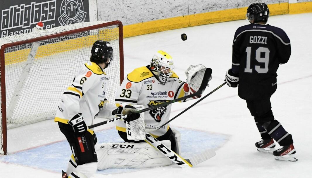 Ringerike-keeper Matias Petterson skal ha mye av æren for at Ringerike slo Grüner lørdag ettermiddag.