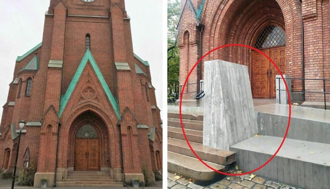 Før og etter. Svært mange reagerer negativt på det noen kaller betongtennene foran inngangspartiet til Uranienborg kirke.