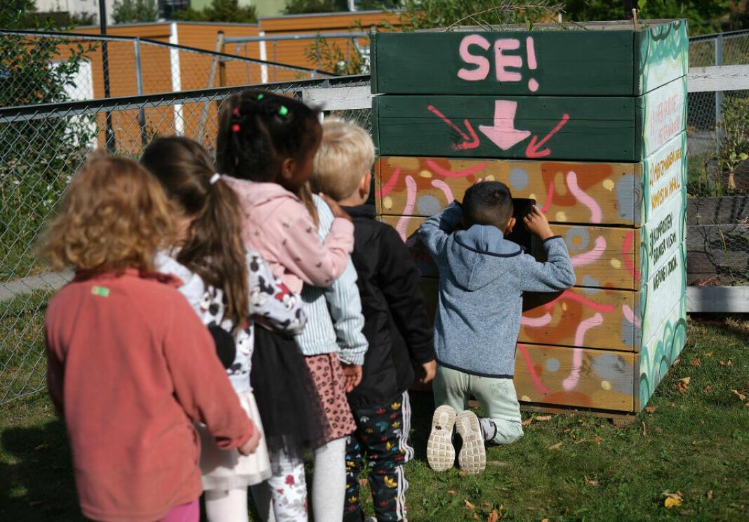 Meitemark-hotellet på Etterstadsletta barnehage gir barna en unik mulighet til å se marken i komposten gjennom en glassrute.
