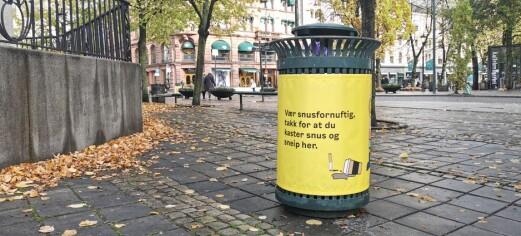 Derfor har søppeldunkene i sentrum fått gul bekledning